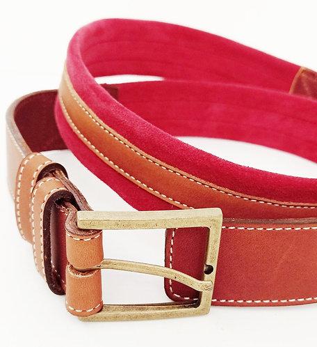 Cinturón cuero vegetal camel y serraje rojo SG1964