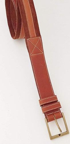 Cinturón cuero vegetal camel y serraje marrón SG1964