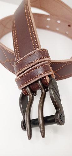 Cinturón cuero vegetal caza hebilla doble pincho SG1964