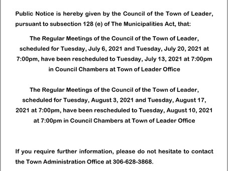 Change of Council Dates