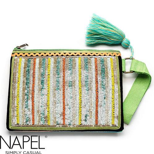 Handloom Cotton Beads Tablet Bag