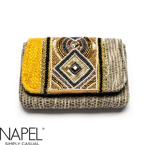 Handloom Geometry Beads  Coin Bag