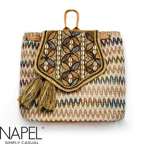 Handloom Geometry Beads Backpack