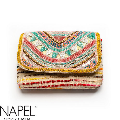 Handloom Pastel Beads Coin Bag