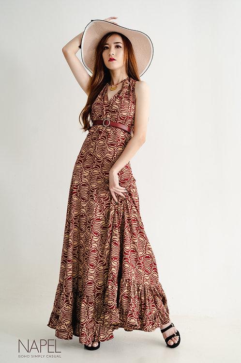 Halter Ruffled Long Dress