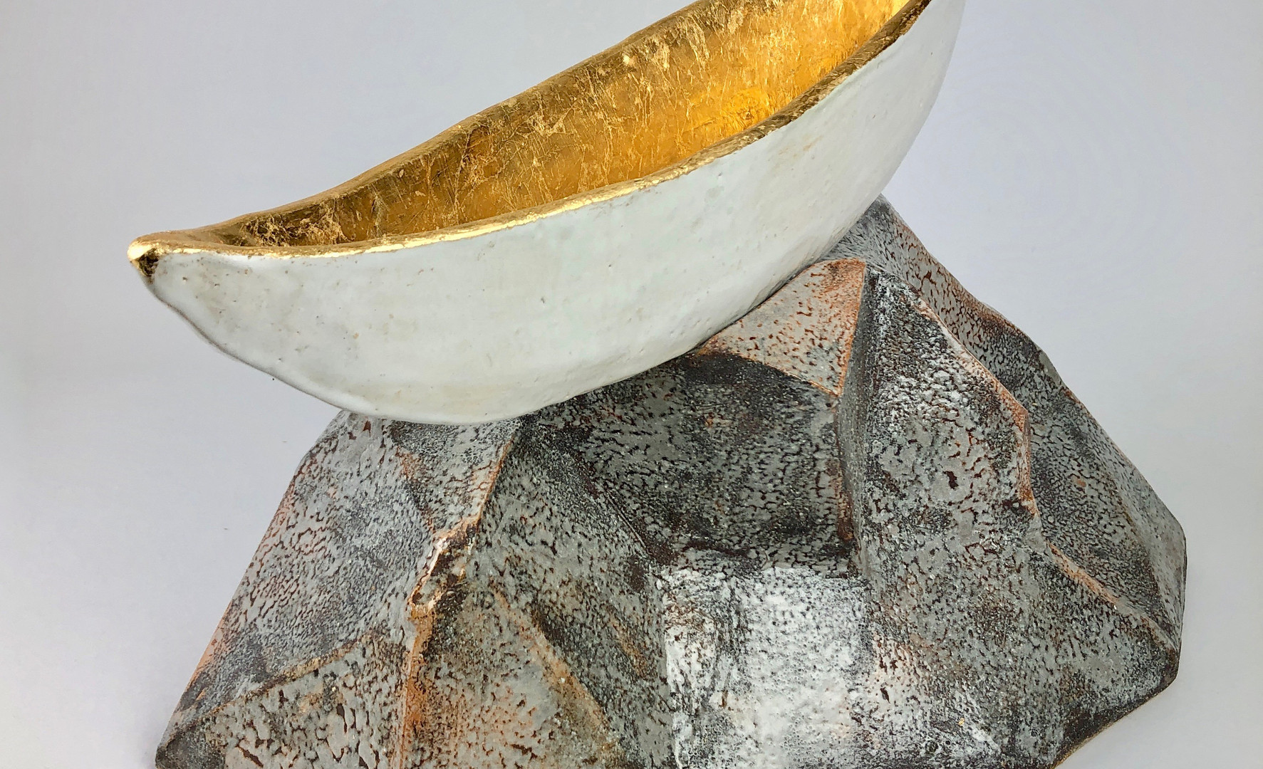 High and Dry, ceramic and gold leaf2018