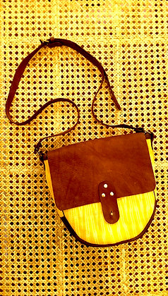 t'nalak satchel in yellow and coffee