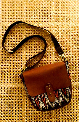 t'nalak satchel in traditional colours and brown