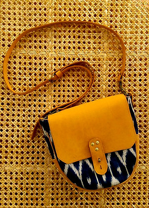 t'nalak satchel in blue and tan