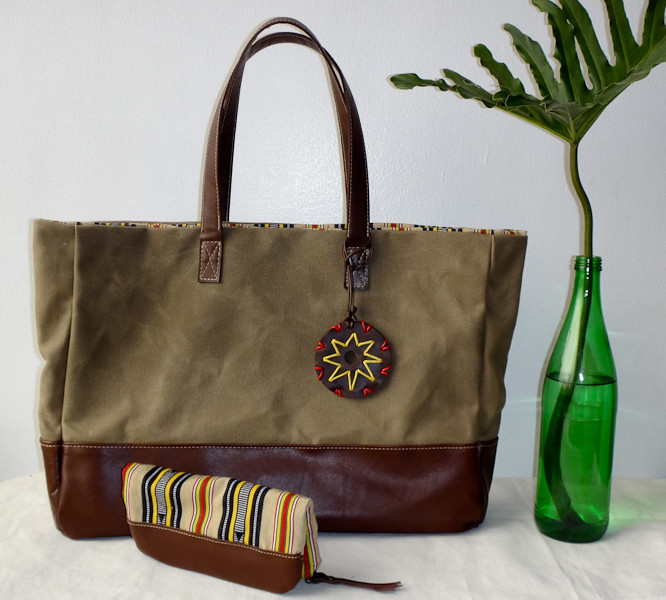 Waxed Canvas and Leather Classic Tote Set in Khaki
