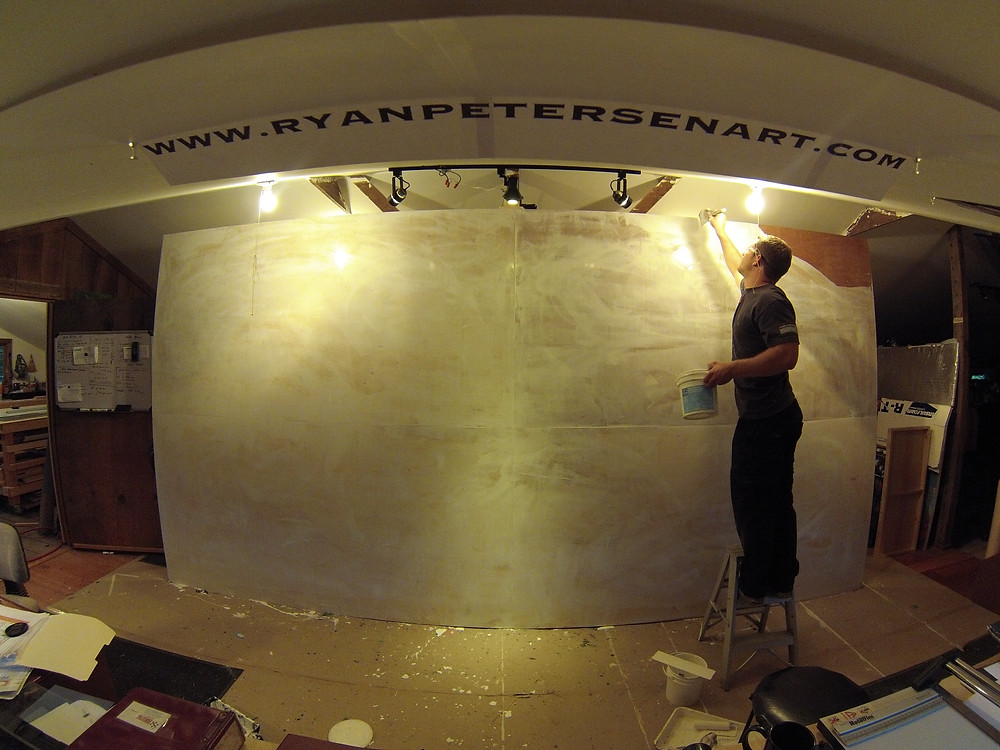 Ryan Petersen Art - Large panel prep in Northern California Studio