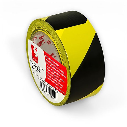 Scapa 2724 Premium Quality Black & Yellow Hazard Warning Tape - 48mm x 33m