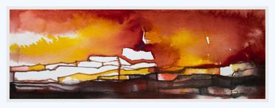 GLOWING HORIZON  Watercolors  24 x 37 cm