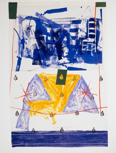 Steven Sorman 1948 USA Color lithograph, monotype, woodblock, screenprint, stencil, collage, and rubber stamp  1982 7/8 69 × 69 cm