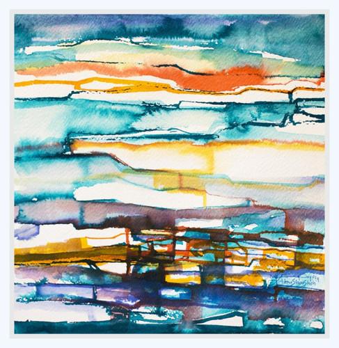 GLOWING HORIZON  Watercolors 39 x 39 cm