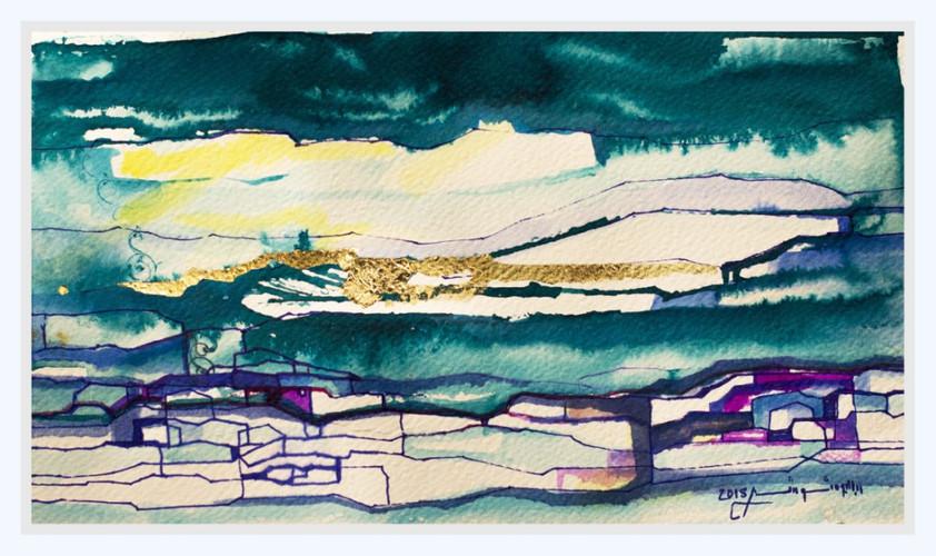 GLOWING HORIZON  Watercolors & Gold leaves 30 x 42 cm