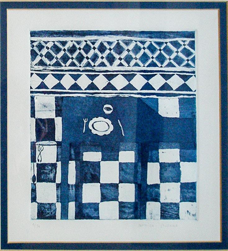 Monica Solsona Spain  Plat a Taula Etching  1/50 24 x 21 cm