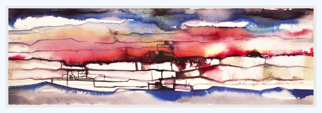 GLOWING HORIZON  Watercolors 30 x 68 cm