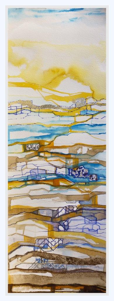 GLOWING HORIZON  Watercolors & Gold leaves 80 x 37 cm
