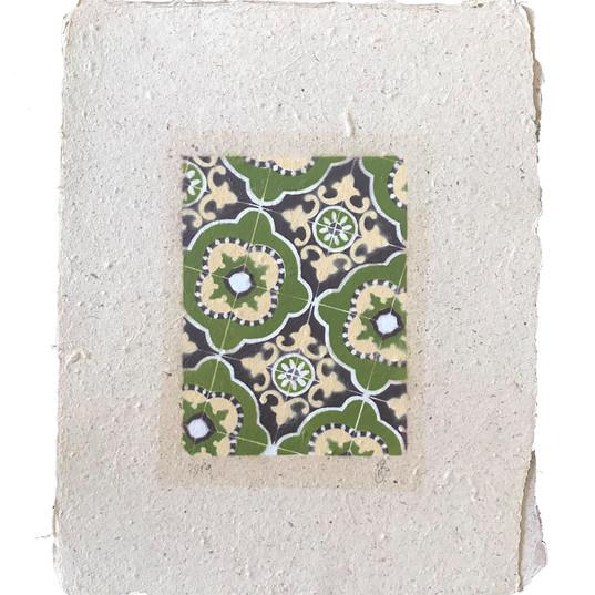 4 layered stencil on handmade paper