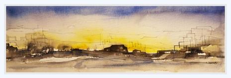 GLOWING HORIZON  Watercolors  25 x 55 cm