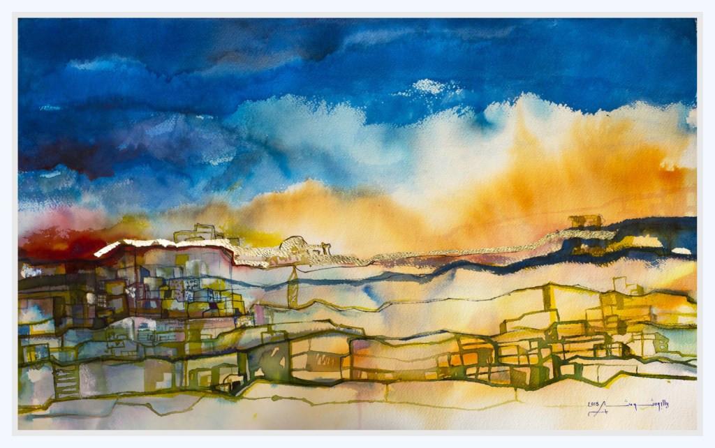 GLOWING HORIZON  Watercolors & Gold leaves 58 x 88 cm