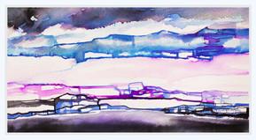 GLOWING HORIZON  Watercolors  30 x 40 cm