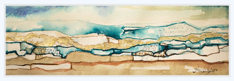 GLOWING HORIZON  Watercolors & Gold leaves 30 x 68 cm