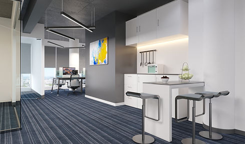 3d renderof office pantry by Janat Office Fit Out
