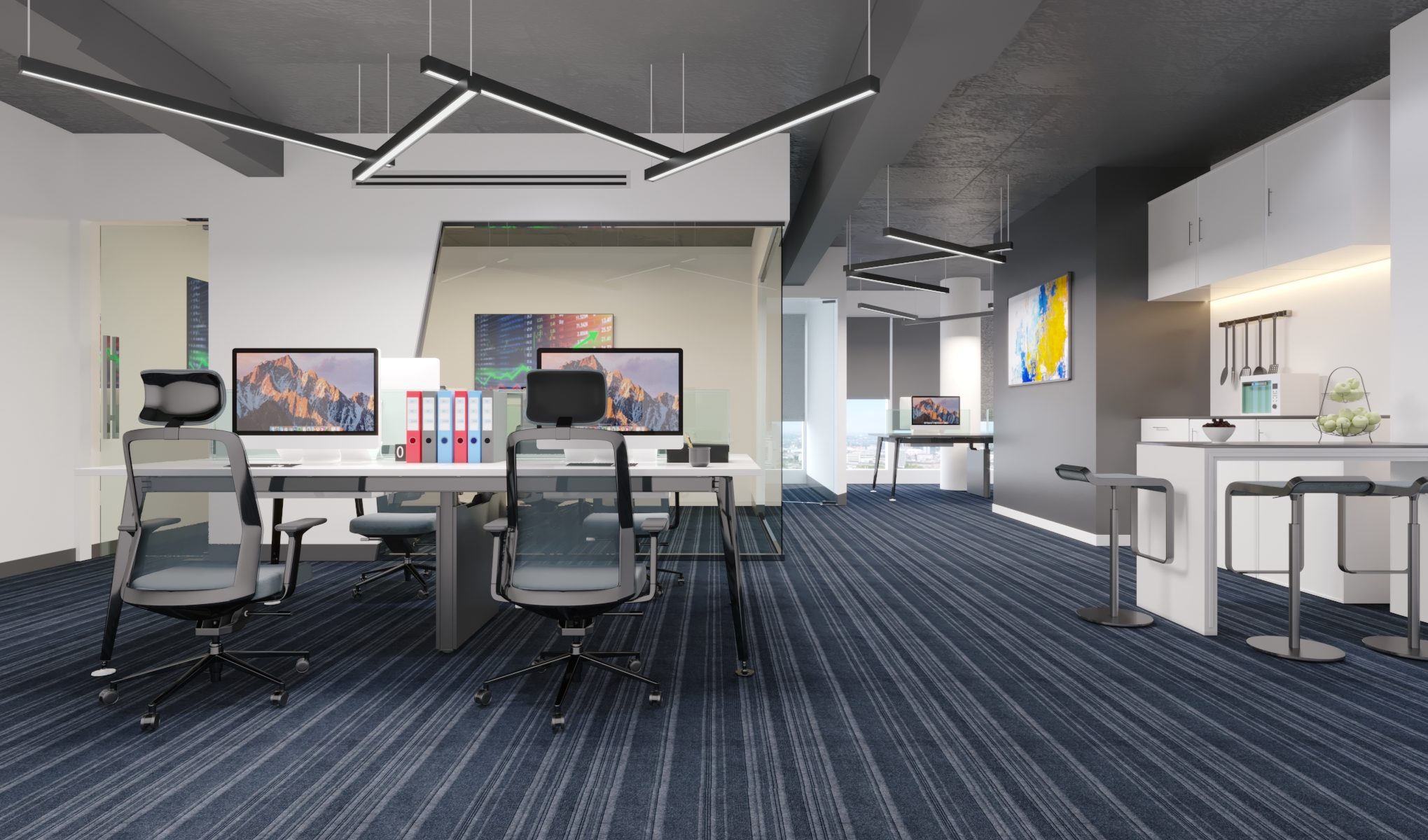 Open office ceiling 3d Rendering
