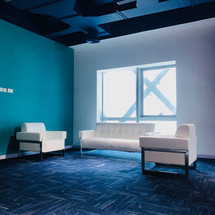 Reception waiting area designed by Janat Office Fit Out, Dubai.