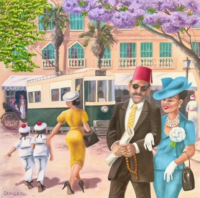 Le Tramway de Giza, oil on canvas, 56 x