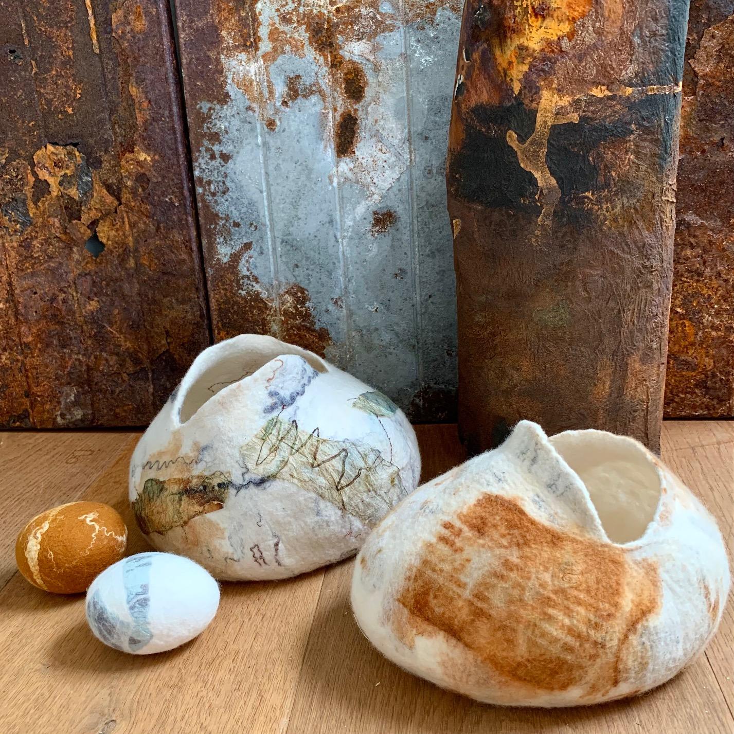 Joomchi Vessel, Wool, Paper and Silk felting