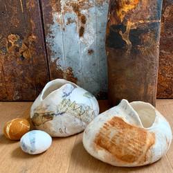 Joomchi Vessel (back), Felt vessels and pebbles
