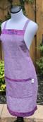 Jen Apron in aubergine cotton-linen with Batik detail.