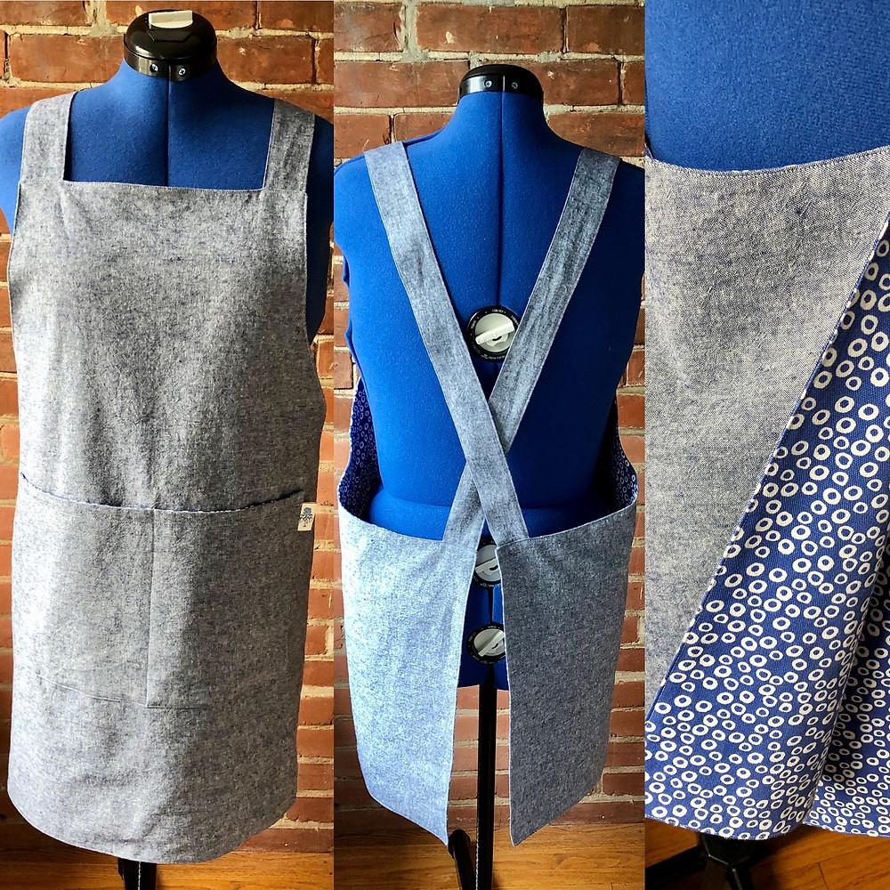 blue linen pinafore apron