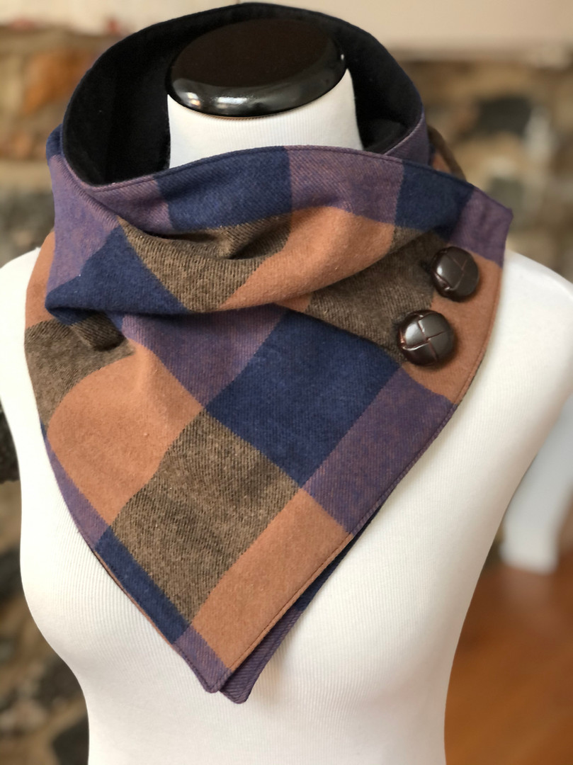 Blue and Camel Flannel Shirt Neck Warmer