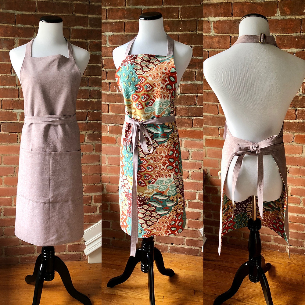 mocha colored linen apron with adjustable neck