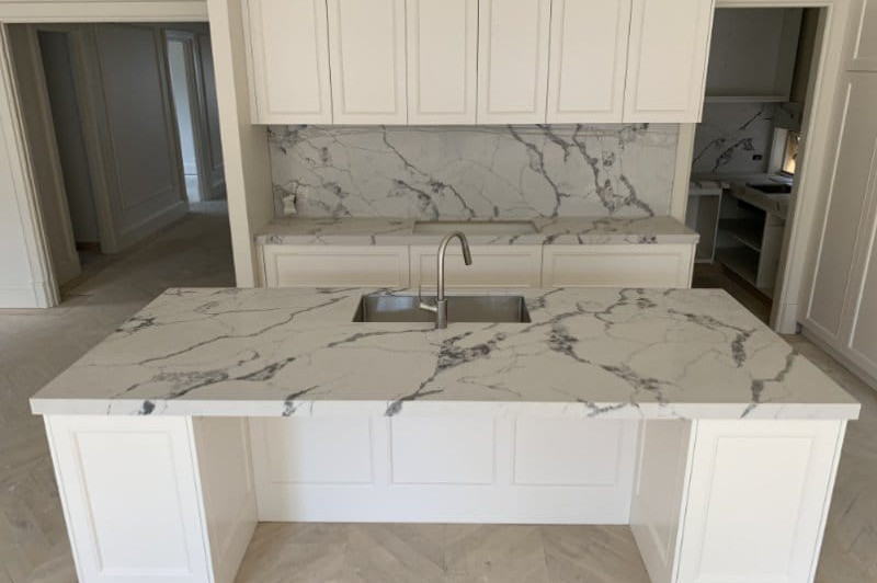 Custom Cut Backsplash and Island