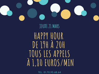HAPPY HOUR  - Jeudi 21 mars de 19h à 20h