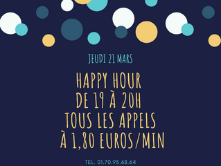 HAPPY HOUR, CE SOIR DE 19H À 20H , 1€80:min