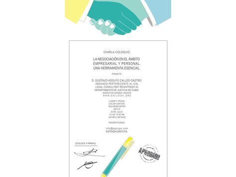 """New Lecture-Meeting about """"The Negotiation in the Business and Personal environment. An essenti"""
