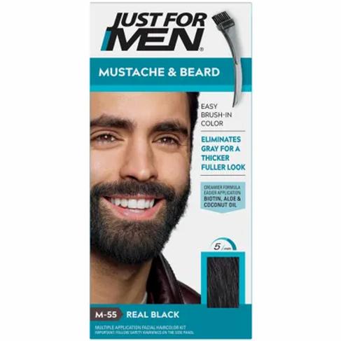 JUST FOR MEN BRUSH-IN MUSTACHE & BEARD REAL BLACK