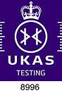 UKAS Accreditation Symbol - white on pur
