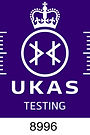 UKAS Accreditation Symbol - white on pur