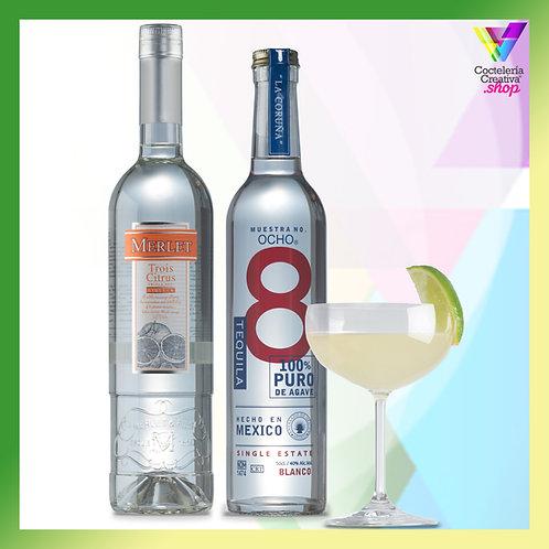 Pack Margarita Ocho Tequila y triple sec Merlet - copa margarita gratis