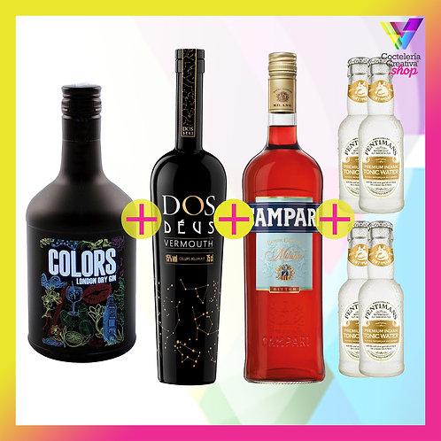 Pack Salvavidas Gin Colors + Vermouth Dos Déus + Campari + Tónicas