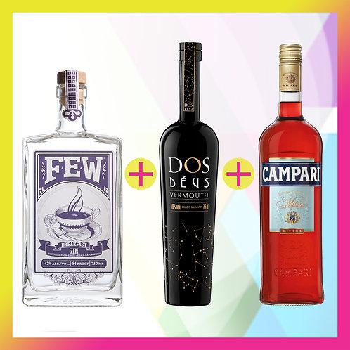 Prepara un Negroni FEW / El pack incluye FEW Breakfast Gin + Dos Déus + Campari