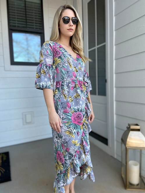 Paris In The Spring Floral Dress