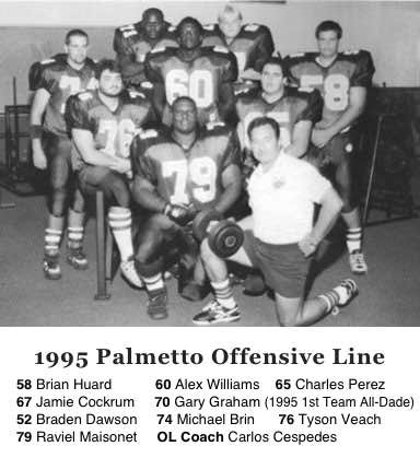 1995 Miami Palmetto Panther Offensive Line